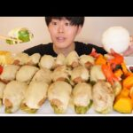 ASMR ピーマンの肉詰めチーズのせ Meat Stuffed Green Peppers EATING SOUNDS | 咀嚼音 | MUKBANG | 먹방 | COOKING